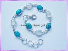 SGN2B Oval Rainbow Moonstone and Turquoise Bracelet