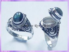 RG004 Poison Locket Ring - Rainbow Moonstone