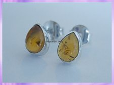 ST3 Stud earrings - Amber - Teardrop