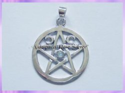 PC491 Triple Moon Pentagram Pendant - Rainbow Moonstone