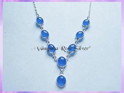 SGN2 Oval Blue Agate Necklace