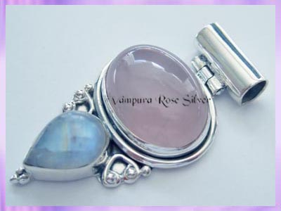 P125 Rose Quartz and Rainbow Moonstone Pendant Wholesale Gemstone